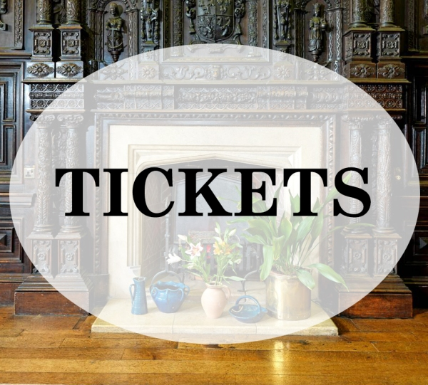"""Tickets"" - superimposed over image of elaborately carved fireplace in the Blayney Room, Gregynong"